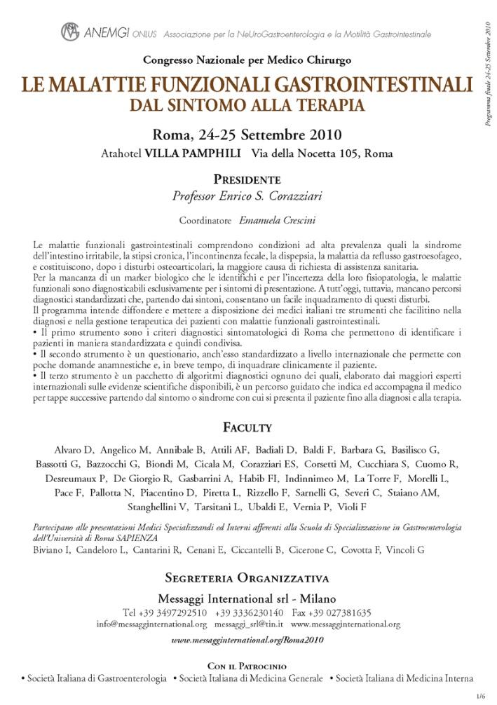Malattie Funzionali Gastrointestinali Sintomo Terapia Roma 2010